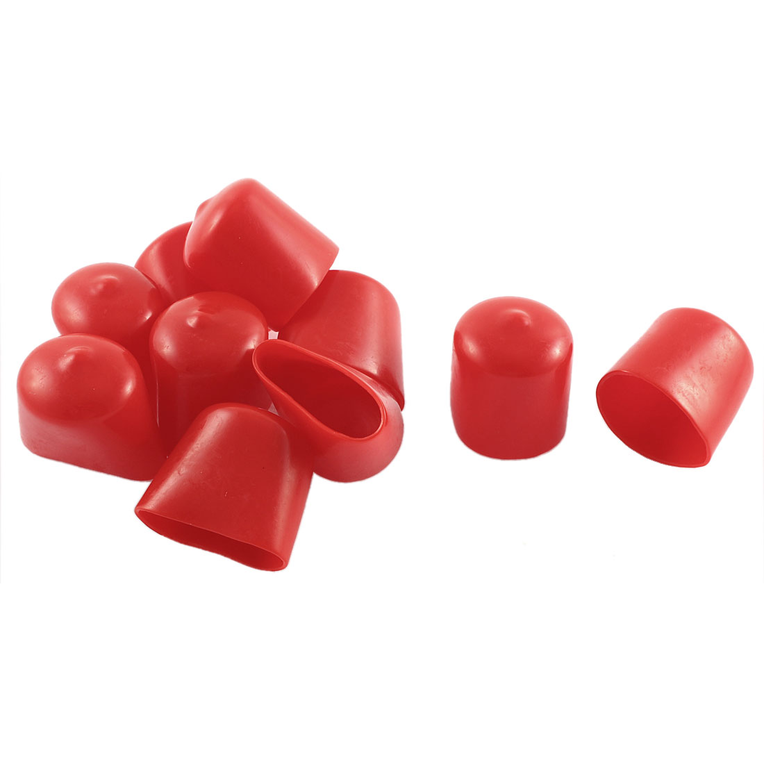 10Pcs Red Soft Plastic PVC Insulated End Sleeves Caps Cover 25mm Dia