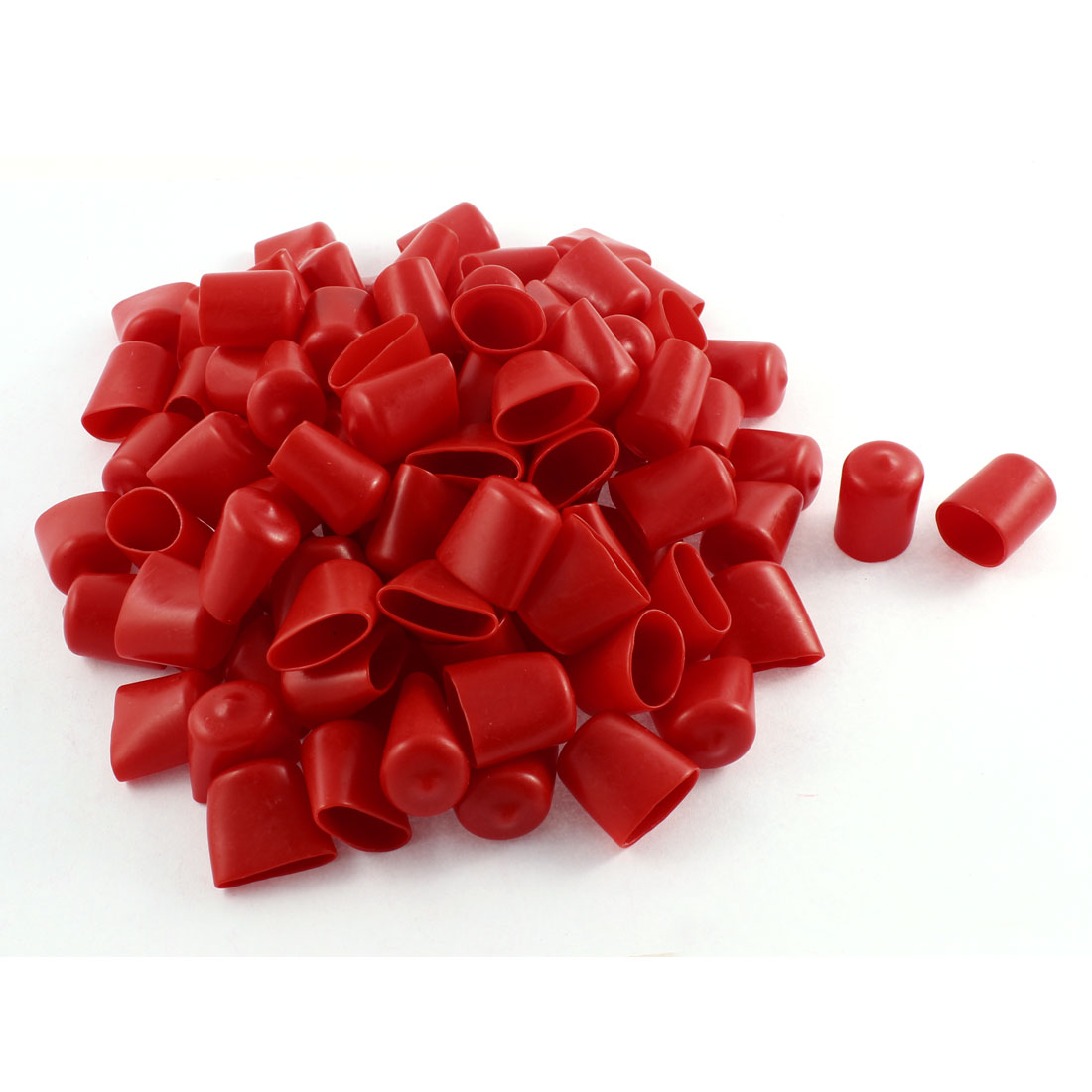 100Pcs Red Soft Plastic PVC Insulated End Sleeves Caps Cover 20mm Dia