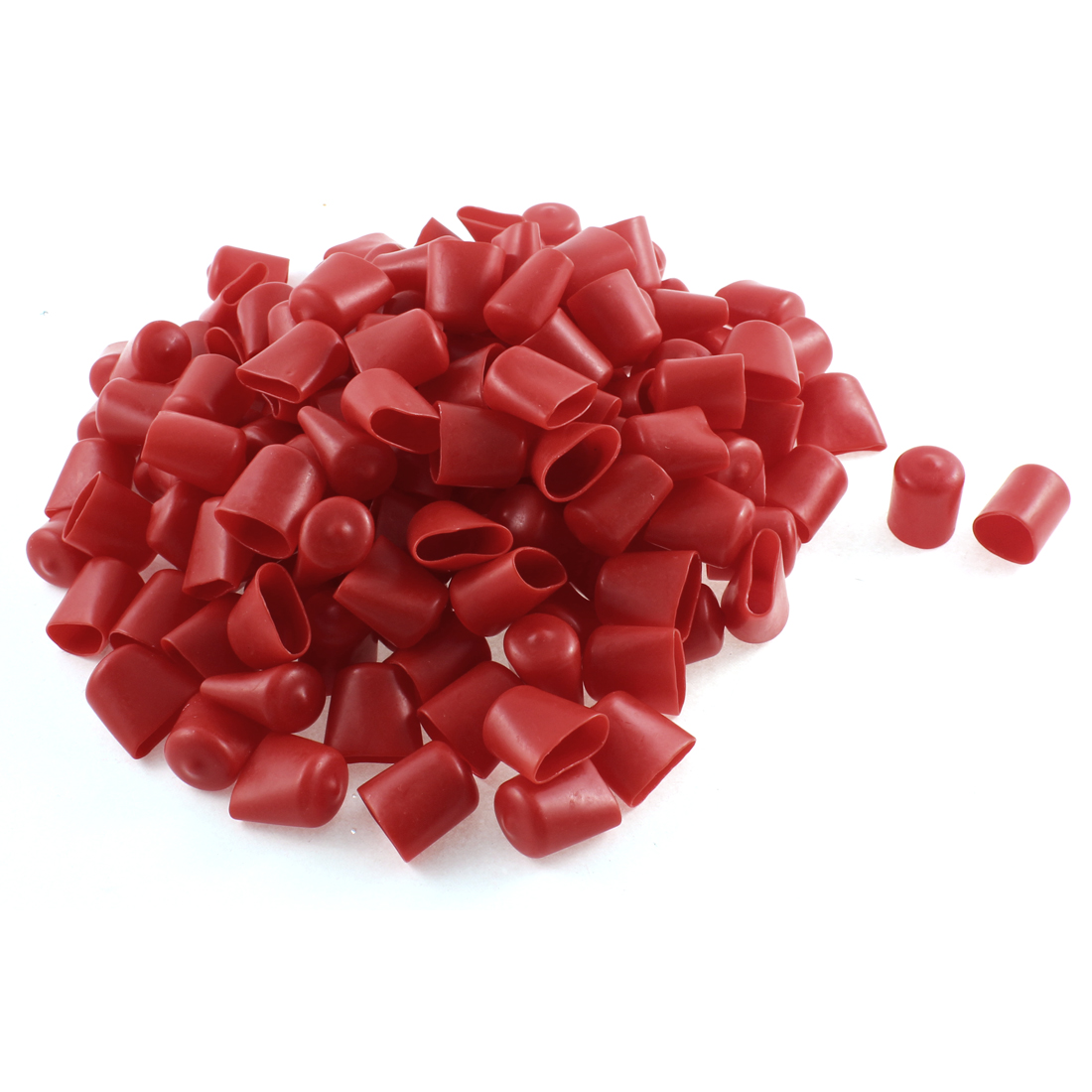 150Pcs Red Soft Plastic PVC Insulated End Sleeves Caps Cover 20mm Dia