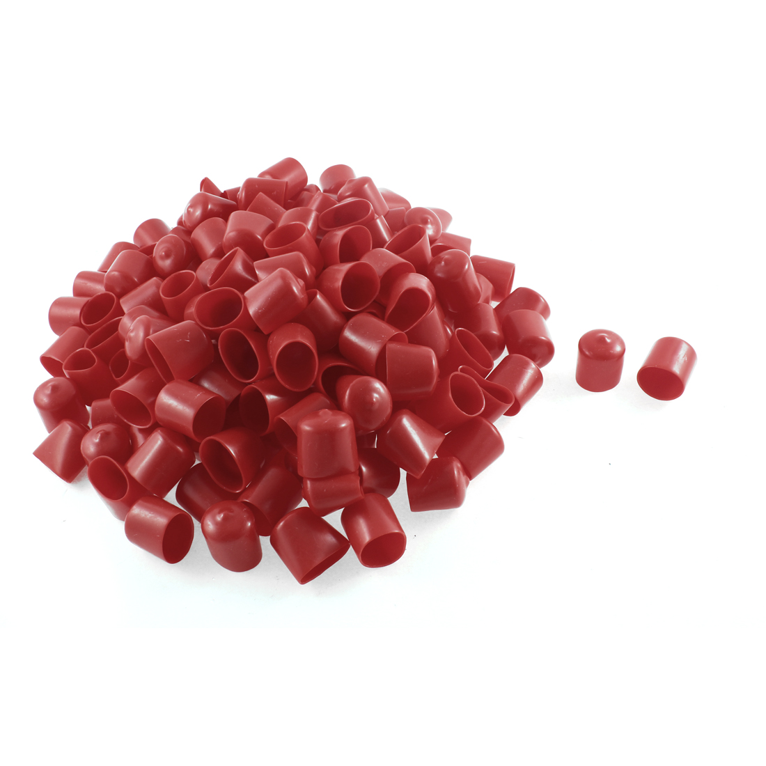 150Pcs Red Soft Plastic PVC Insulated End Sleeves Caps Cover 22mm Dia