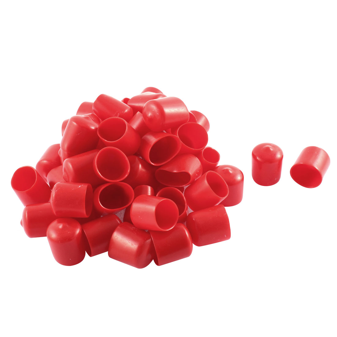 50Pcs Red Soft Plastic PVC Insulated End Sleeves Caps Cover 22mm Dia