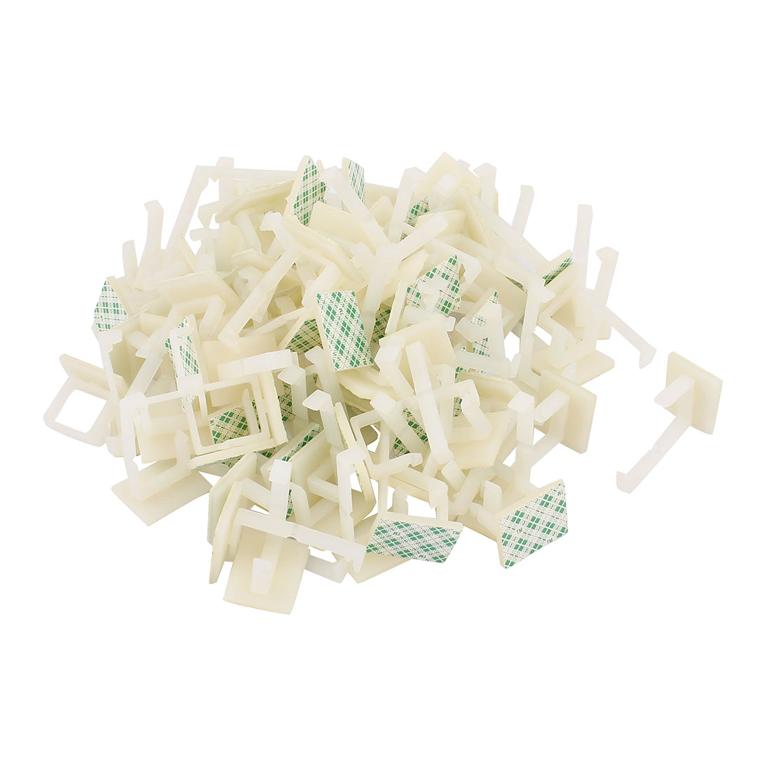 Rectangle Self-adhesive 15mm Cable Tie Mount Clip Off White Green 100Pcs
