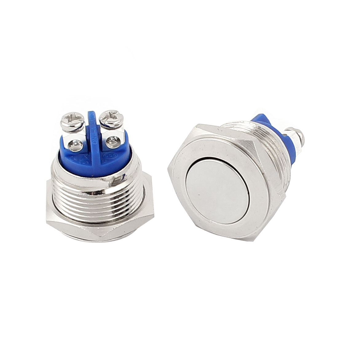 AC 250V 3A 2 Screw Pins 1NO 1NC Momentary 16mm Stainless Steel Pushbutton Switch 2Pcs