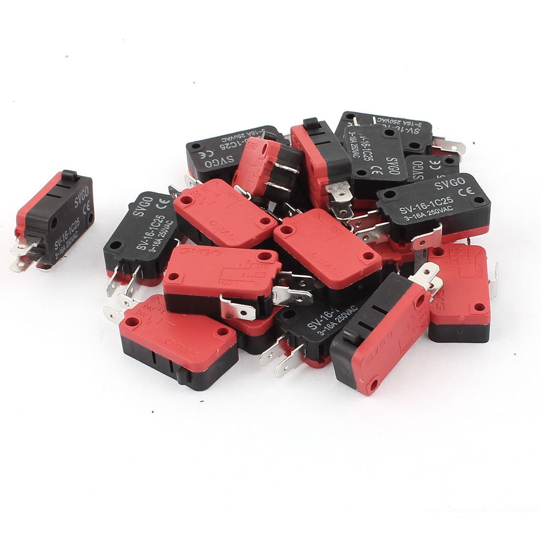 20Pcs AC 250V 3-16A Snap Action Push Button SPDT Momentary Micro Limit Switch