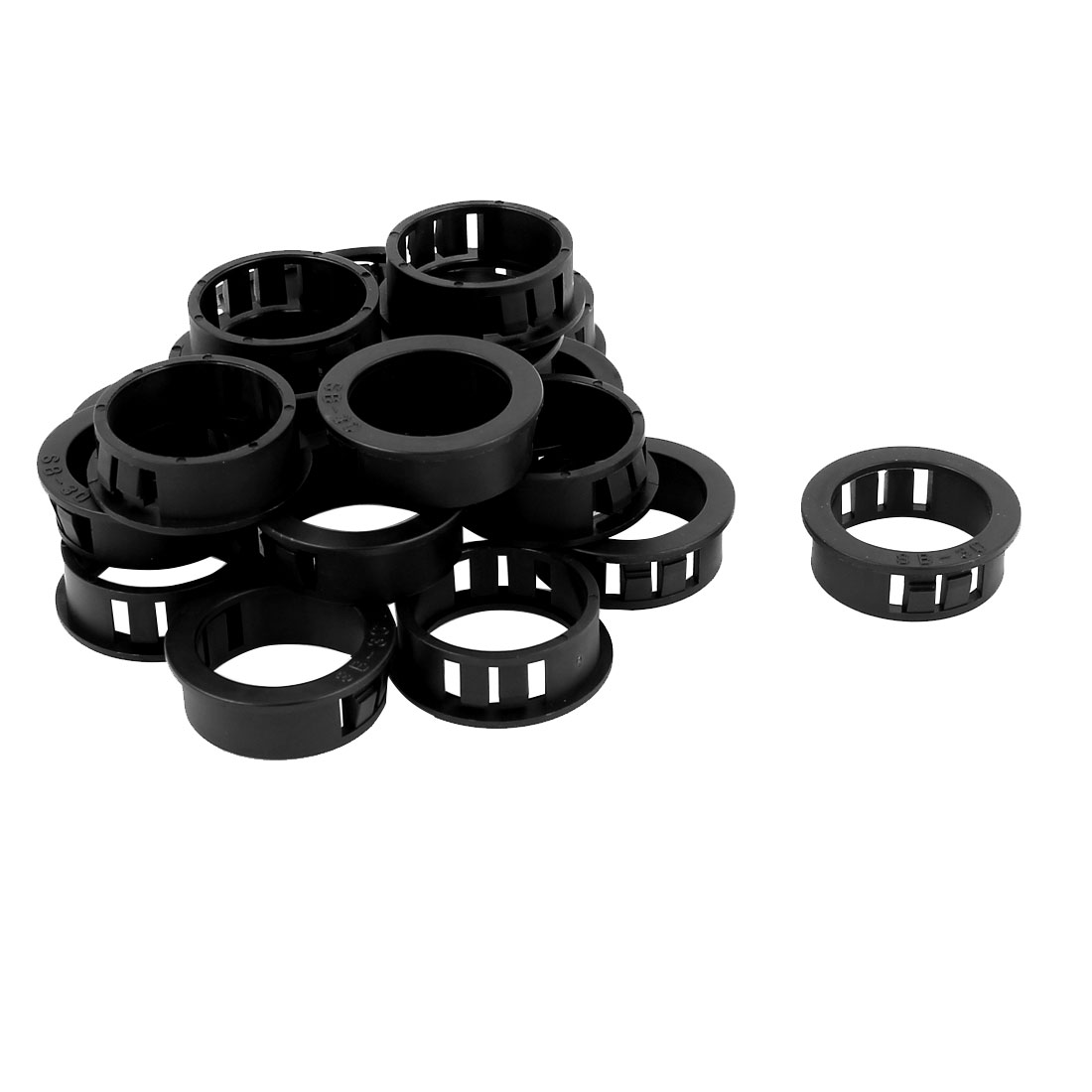 Plastic 30mm Cable Hose Snap Locking Bushing Protective Grommet 20Pcs Black