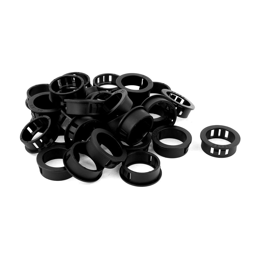 Plastic 30mm Cable Hose Snap Locking Bushing Protective Grommet 30Pcs Black