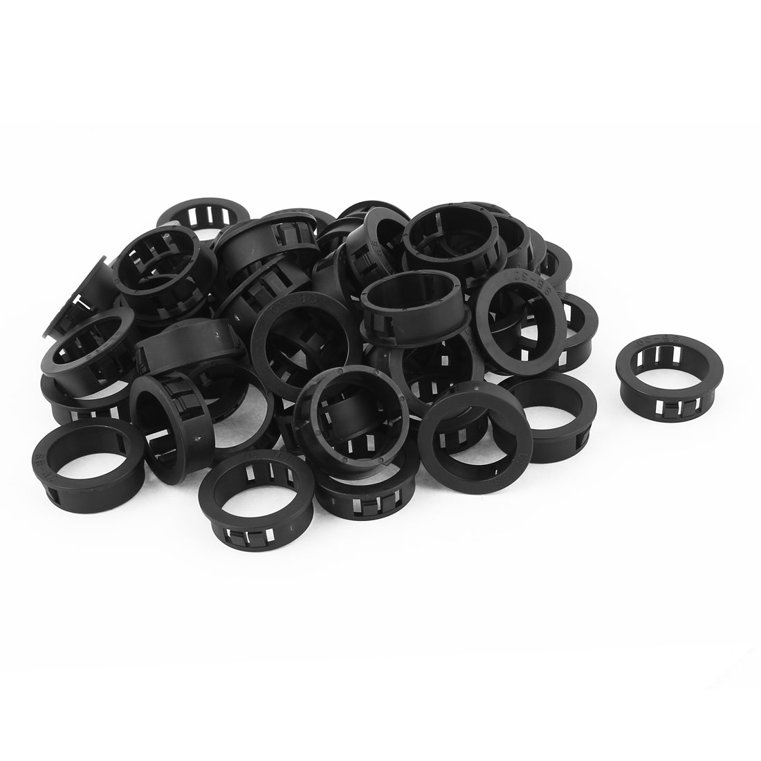 Plastic 30mm Cable Hose Snap Locking Bushing Protective Grommet 50Pcs Black