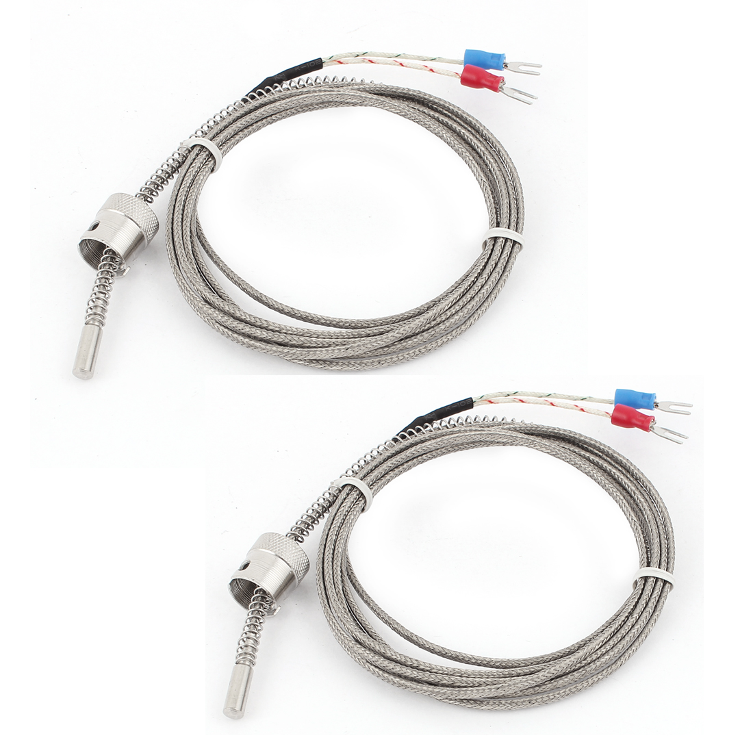 6.5Ft K Type Tension Spring Wire Lead Temperature Thermocouple Probe 2Pcs