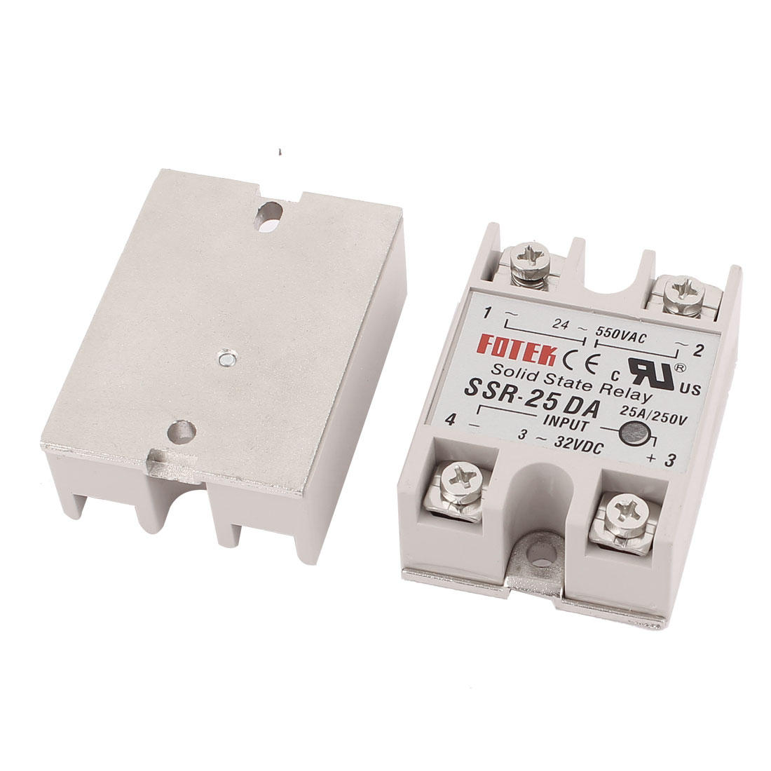 SSR-25DA DC 3-32V 25A Input Single Phase Solid State Relay 2Pcs