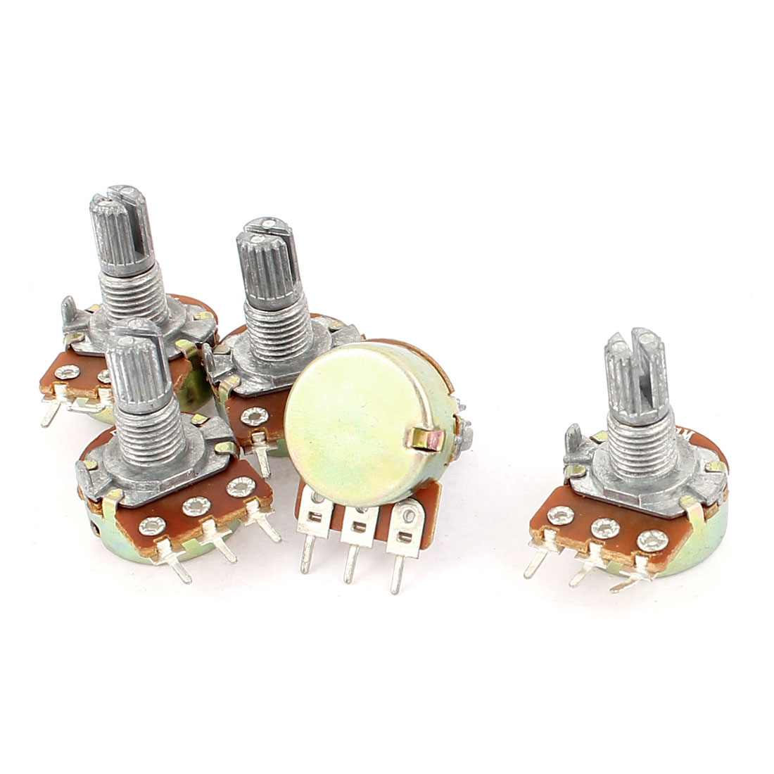 5 Pcs B1M Type B 1M Ohm 3 Terminal Single Linear Rotary Taper Potentiometer
