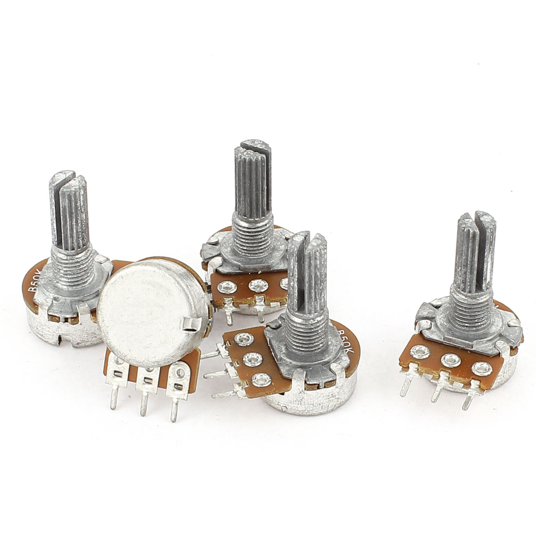 5 Pcs B50K Type B 50K Ohm 3 Terminal Single Linear Rotary Taper Potentiometer