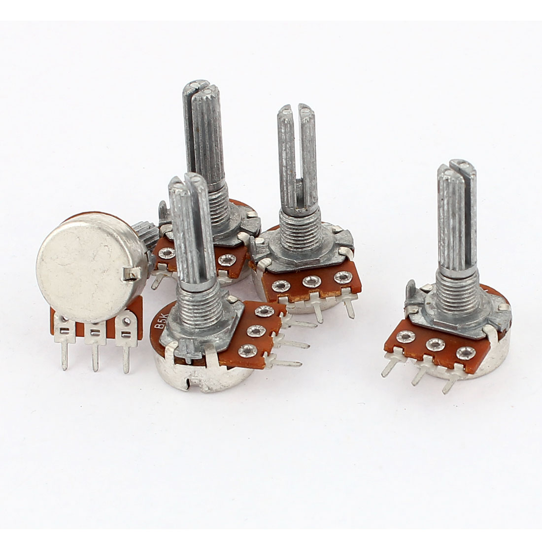 5 Pcs B5K Type B 5K Ohm 3 Terminal Single Linear Rotary Taper Potentiometer