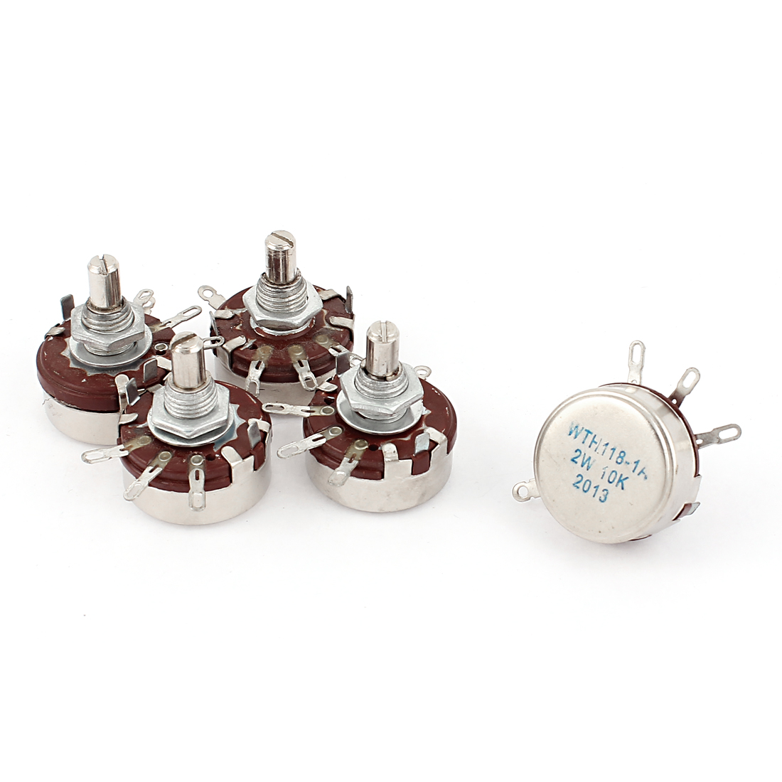 WTH118-1A 2W 10K Ohm Rotary Taper Carbon Potentiometer 5Pcs