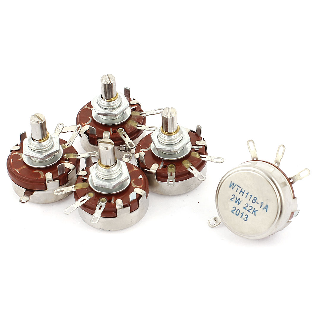 WTH118-1A 2W 22K Ohm Rotary Taper Carbon Potentiometer 5Pcs