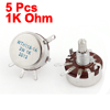 WTH118-1A 2W 1K Ohm Rotary Taper Carbon Potentiometer 5Pcs