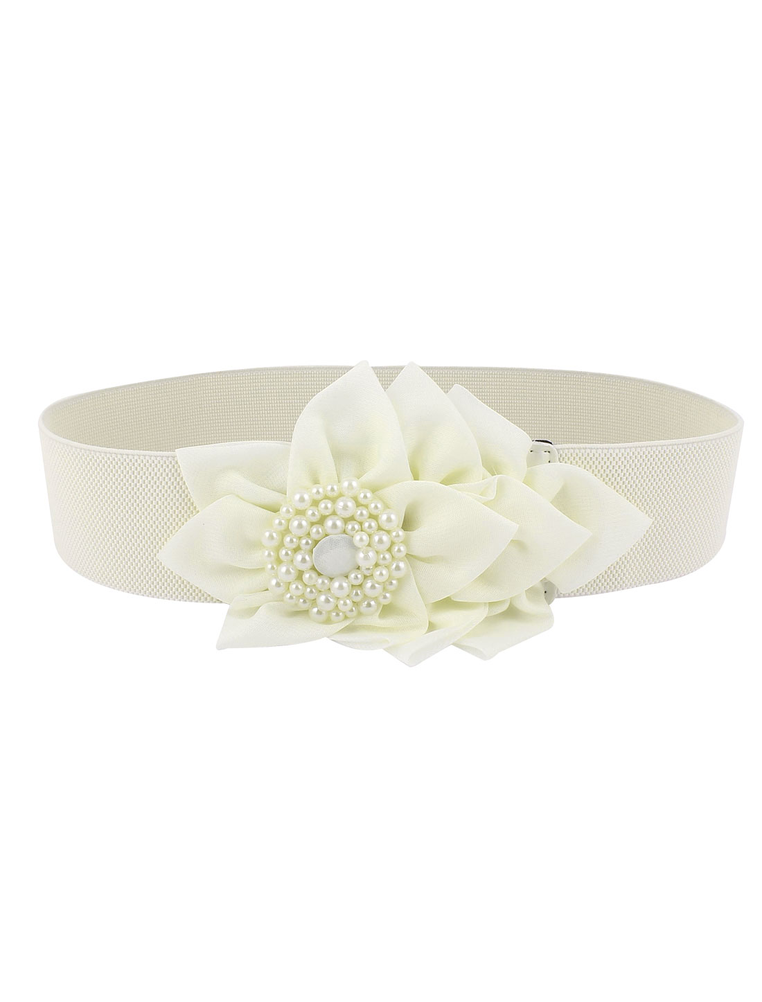 Metal Buckle Link Faux Pearls Rhinestone Inlaid Nylon Flower Decor Stretchy Waist Belt for Lady White