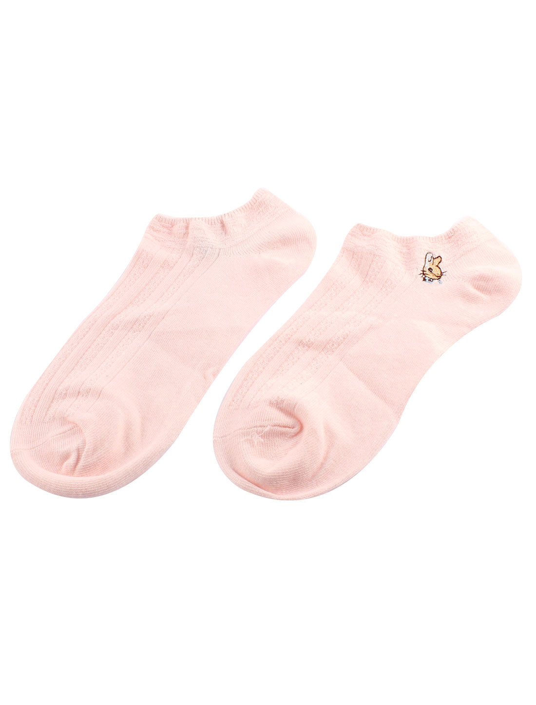 Stretchy Cotton Blends Squirrel Printed Cuff Short Low Cut Socks Pair for Lady Pink