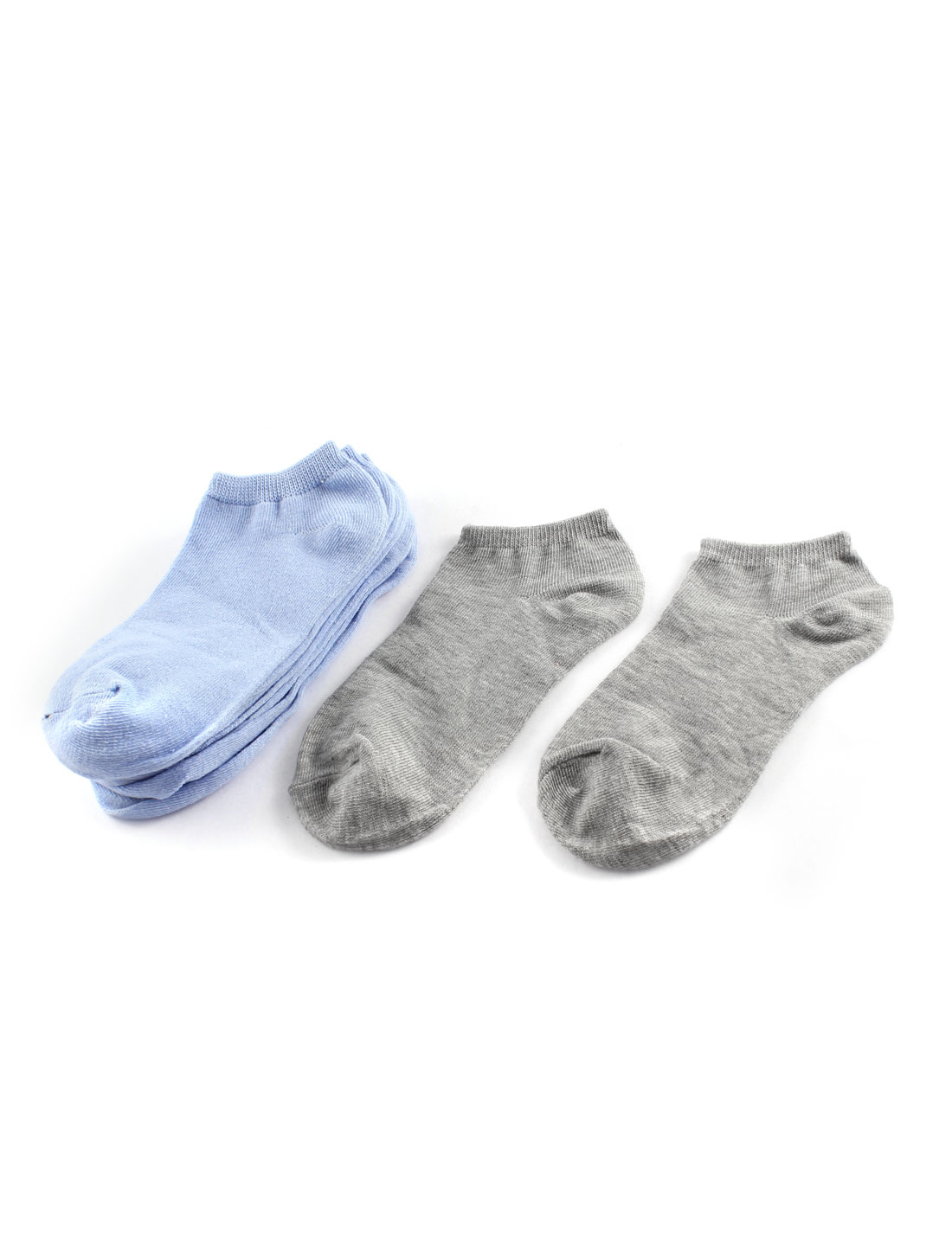 5 Pairs Pure Blue Gray Elastic Cotton Blends Cuff Short Low Cut Socks for Lady