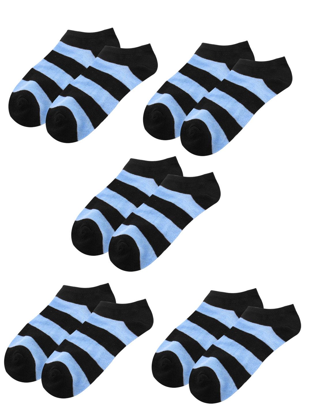 Women Strips Pattern Elastic Cotton Blends Cuff Short Socks Blue 5 Pairs