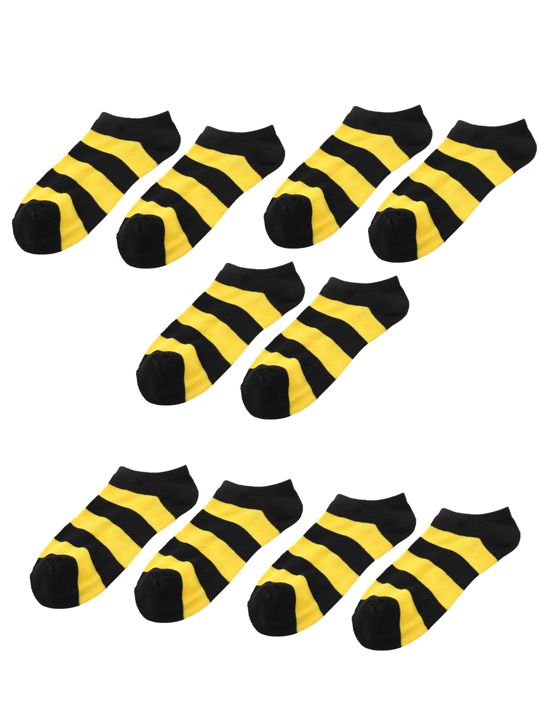 5 Pairs Strips Pattern Stretchy Cotton Blends Cuff Short Socks Yellow for Lady