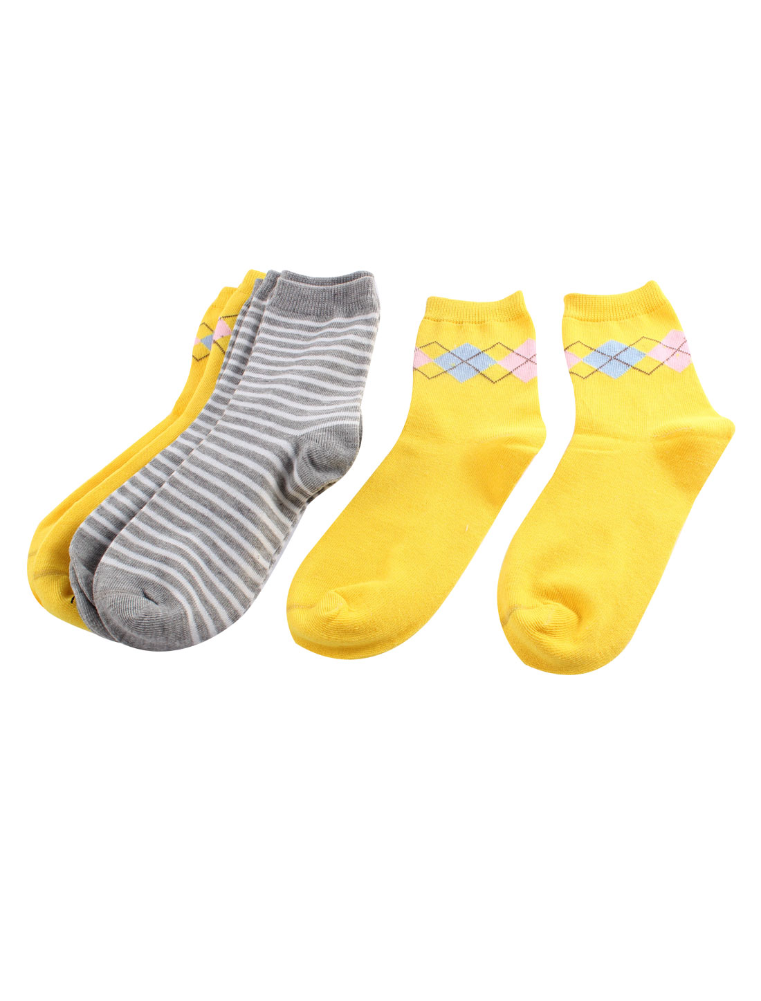 5 Pairs Yellow Gray Argyle Stripes Elastic Cotton Blends Ankle High Hosiery Socks for Lady