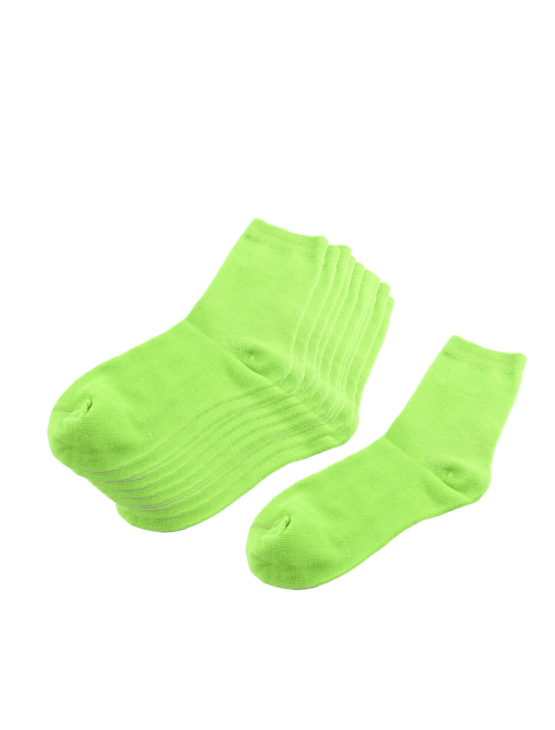 5 Pairs Light Green Elastic Cotton Blends Ankle High Hosiery Socks for Lady