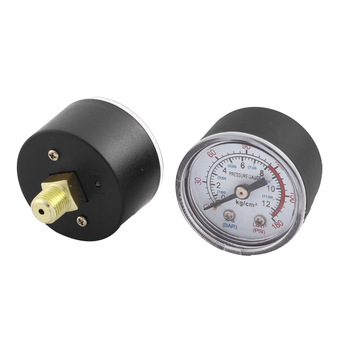 0-180psi 0-12 kg/cm2 9.5mm 1/8BSP Thread Dia Round Shaped Dial Air Pressure Gauge 2 Pcs