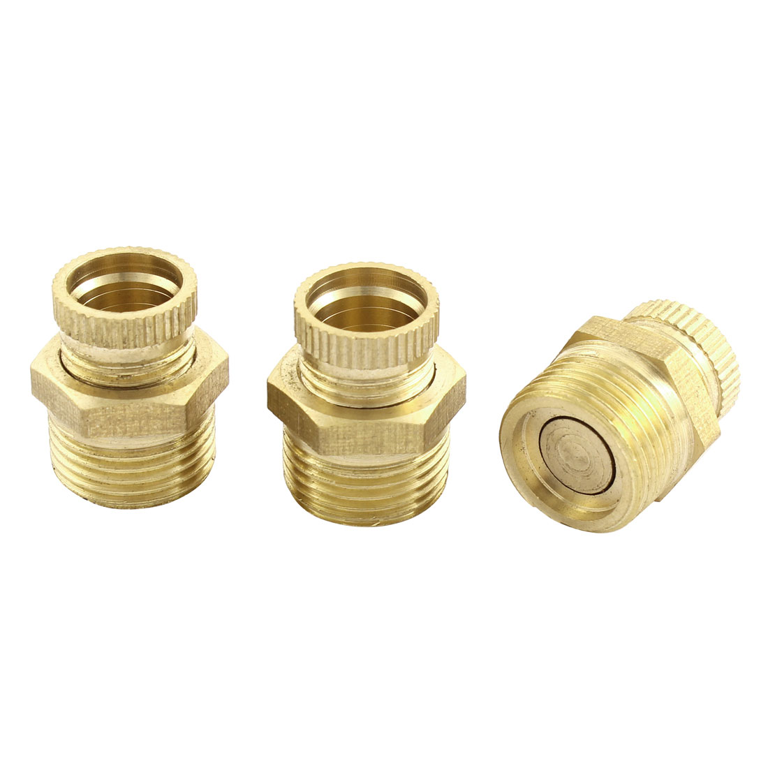 Air Compressor 16mm Male Thread Dia Security Water Drain Valve Brass Tone 3 Pcs