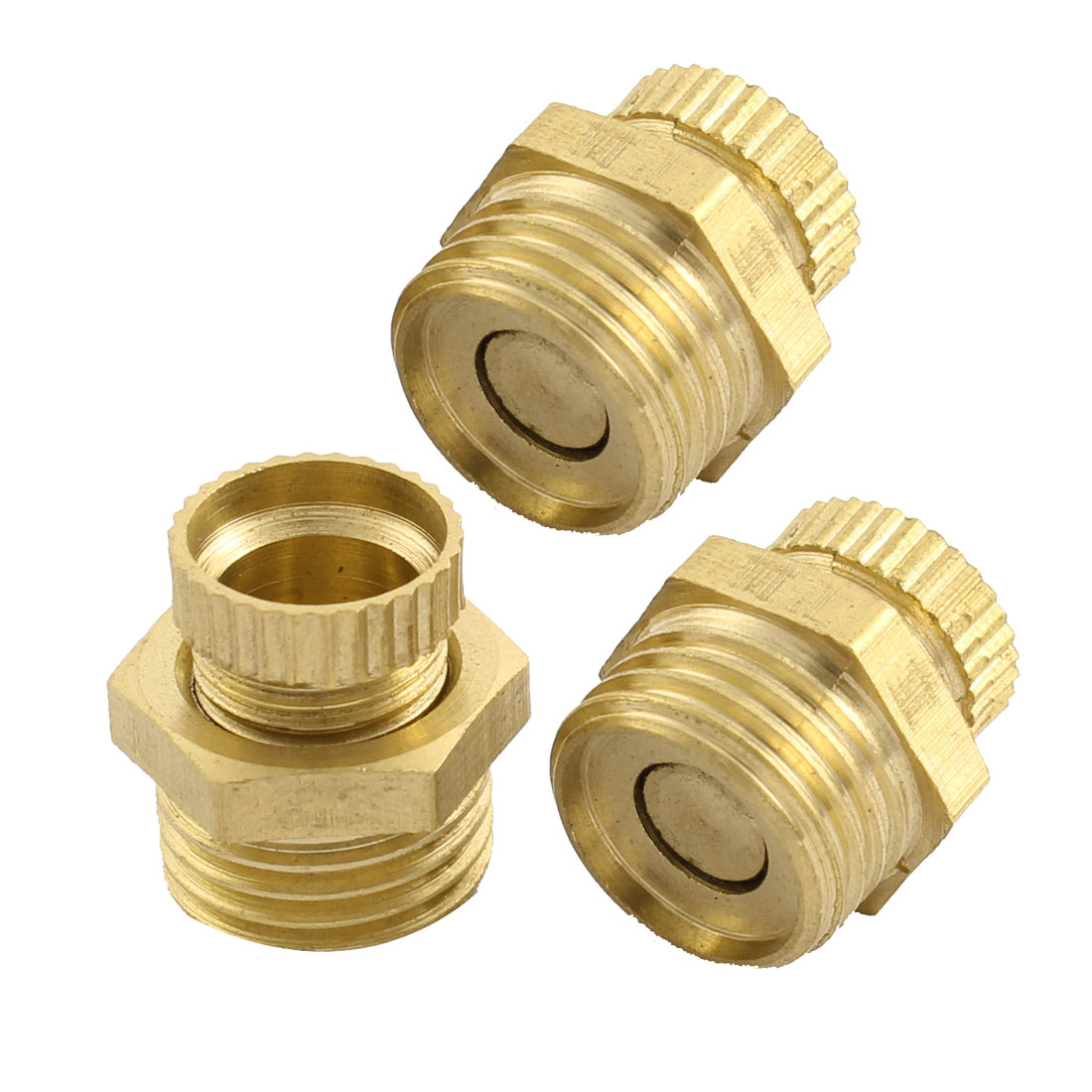 Air Compressor Part 13mm Male Thread Dia Security Water Drain Valve Brass Tone 3 Pcs
