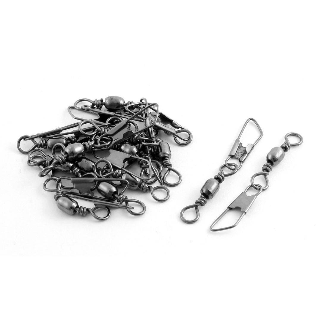 16 Pcs Dark Gray Metal Rolling Fishing Line Snap Hook Shank Swivel Clip Connectors
