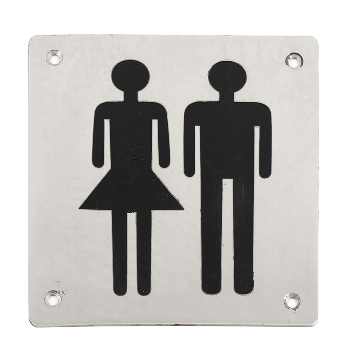 Black Silver Tone Stainless Steel Man Woman Washroom Toilet Notice Sign Board
