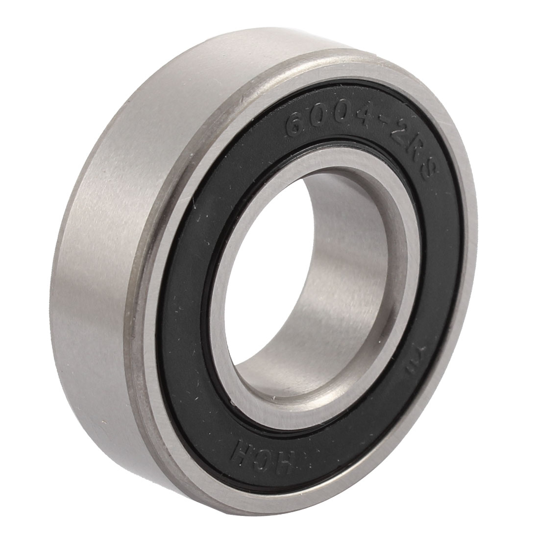 6004-2RS 20mm Inner Dia Deep Groove Radial Ball Bearing Silver Tone Black