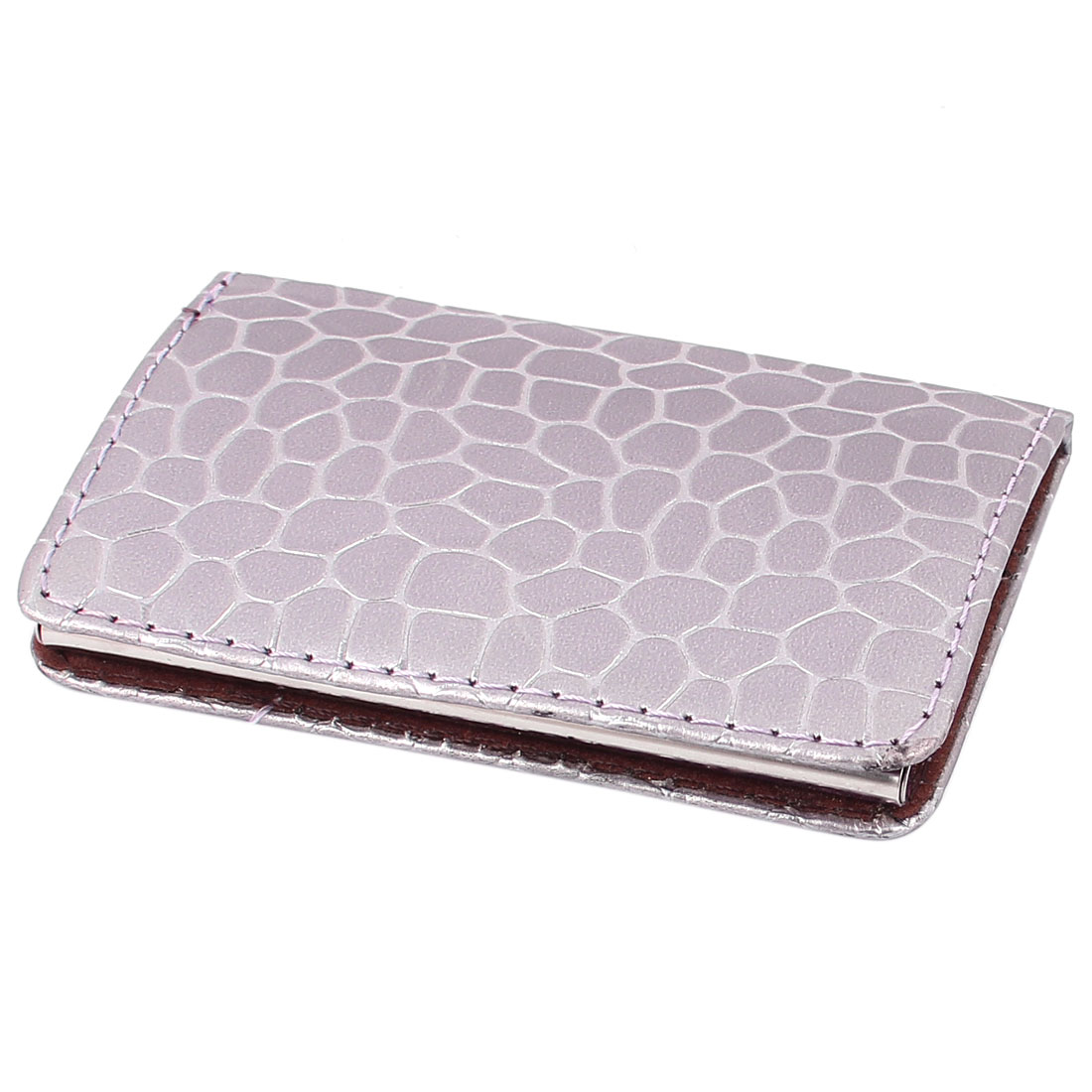 Light Purple Crocodile Pattern Faux Leather Cover Name ID Card Case Holder Organizer