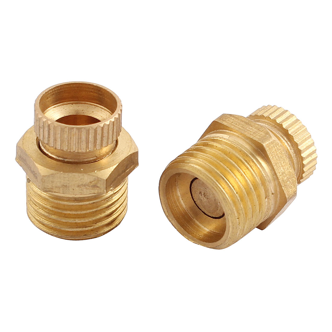 Air Compressor Part 13mm Male Thread Dia Security Water Drain Valve Brass Tone 2 Pcs