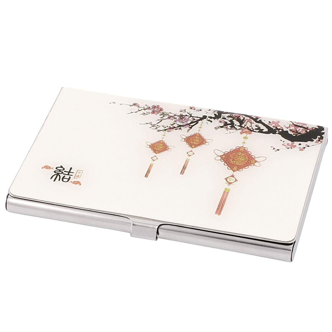 Red Chinese Knot Pattern Plum Blossom Design Credit Business Card Holder