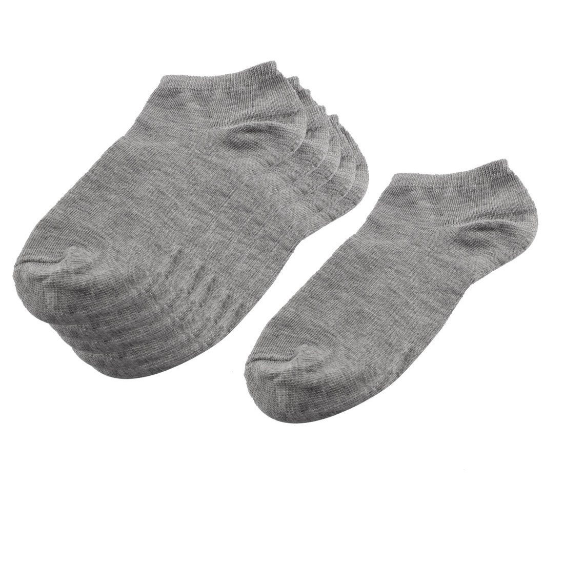 3 Pairs Gray Elastic Cotton Blends Cuff Short Low Cut Ankle Socks for Lady
