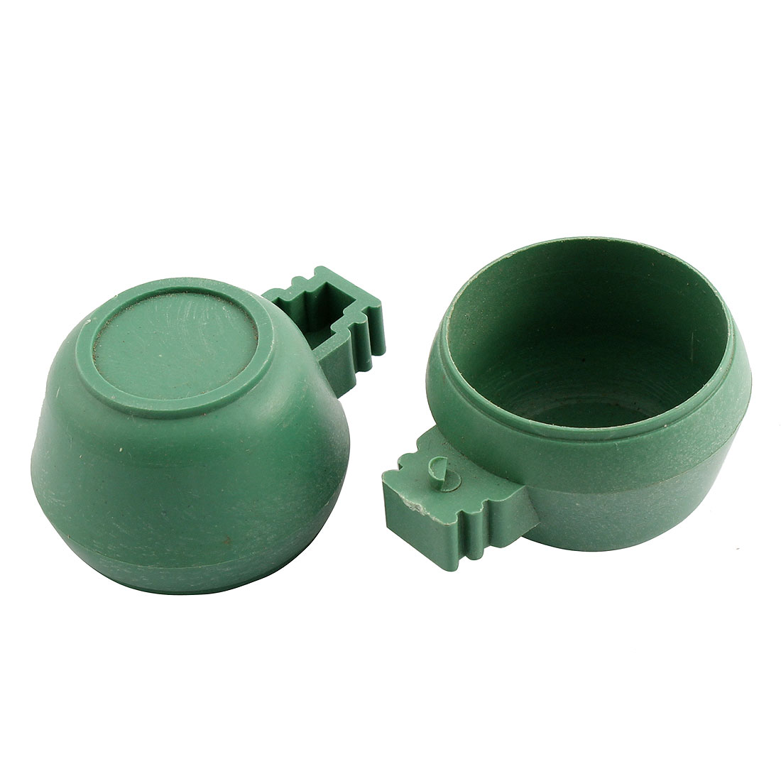 Plastic 35mm Dia Hamster Parrot Bird Food Water Feeder Cup Bowl Holder 2 Pcs Green