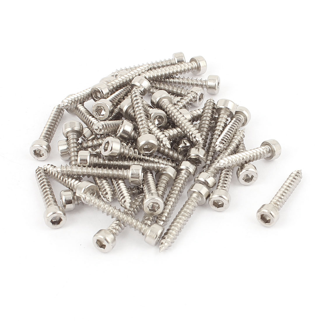 4mm x 25mm Male Thread Nickel Plated Hex Head Self Tapping Screws 50 Pcs
