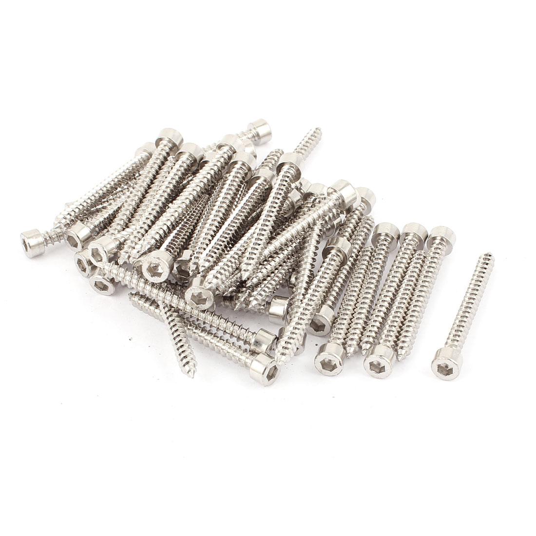 5mm x 50mm Full Thread Nickel Plated Hex Head Self Tapping Screws 50pcs