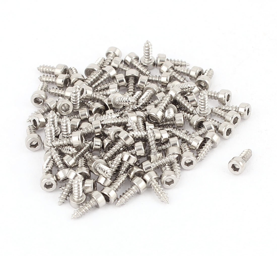 2mm x 6mm Male Thread Nickel Plated Hex Head Self Tapping Screws 100 Pcs