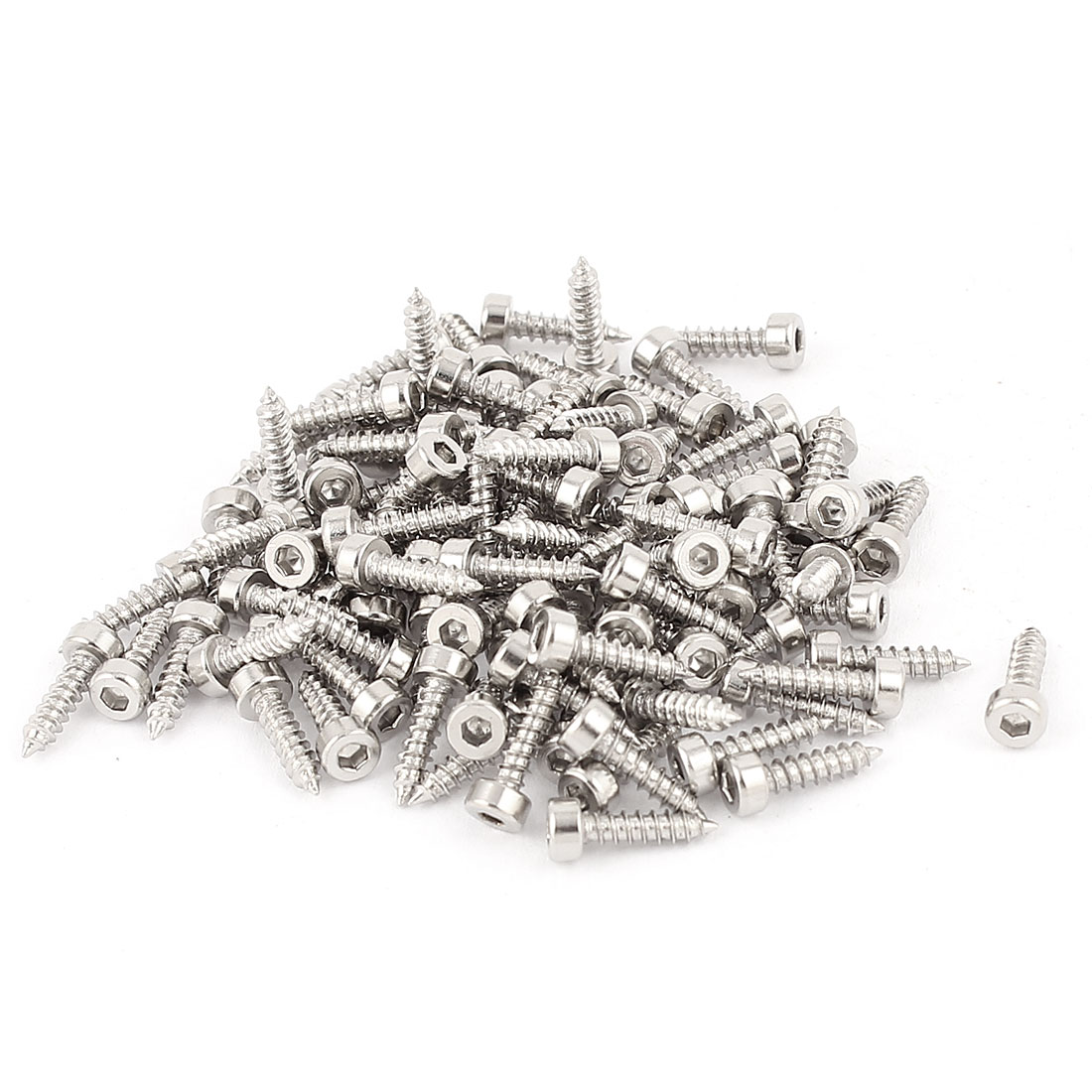 2mm x 8mm Threaded Nickel Plated Hex Head Self Tapping Screws 100 Pcs