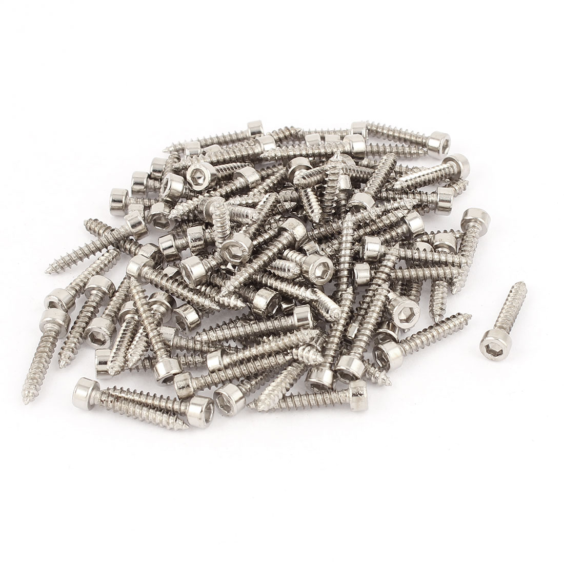 3.5mm x 20mm Threaded Hexagon Head Self Tapping Screws Silver Tone 100 Pcs