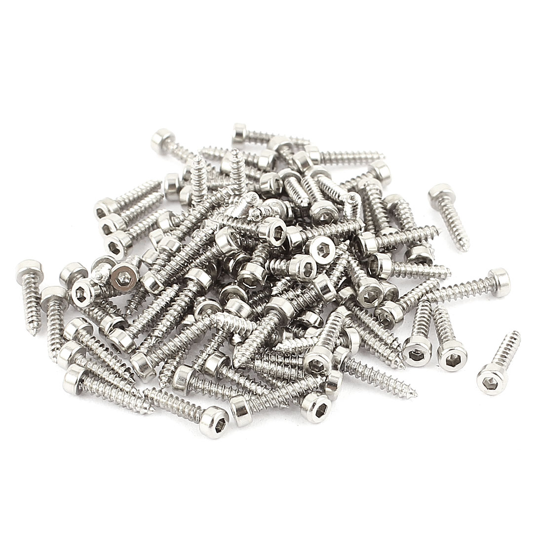 2mm x 10mm Full Thread Nickel Plated Hex Head Self Tapping Screws 100 Pcs
