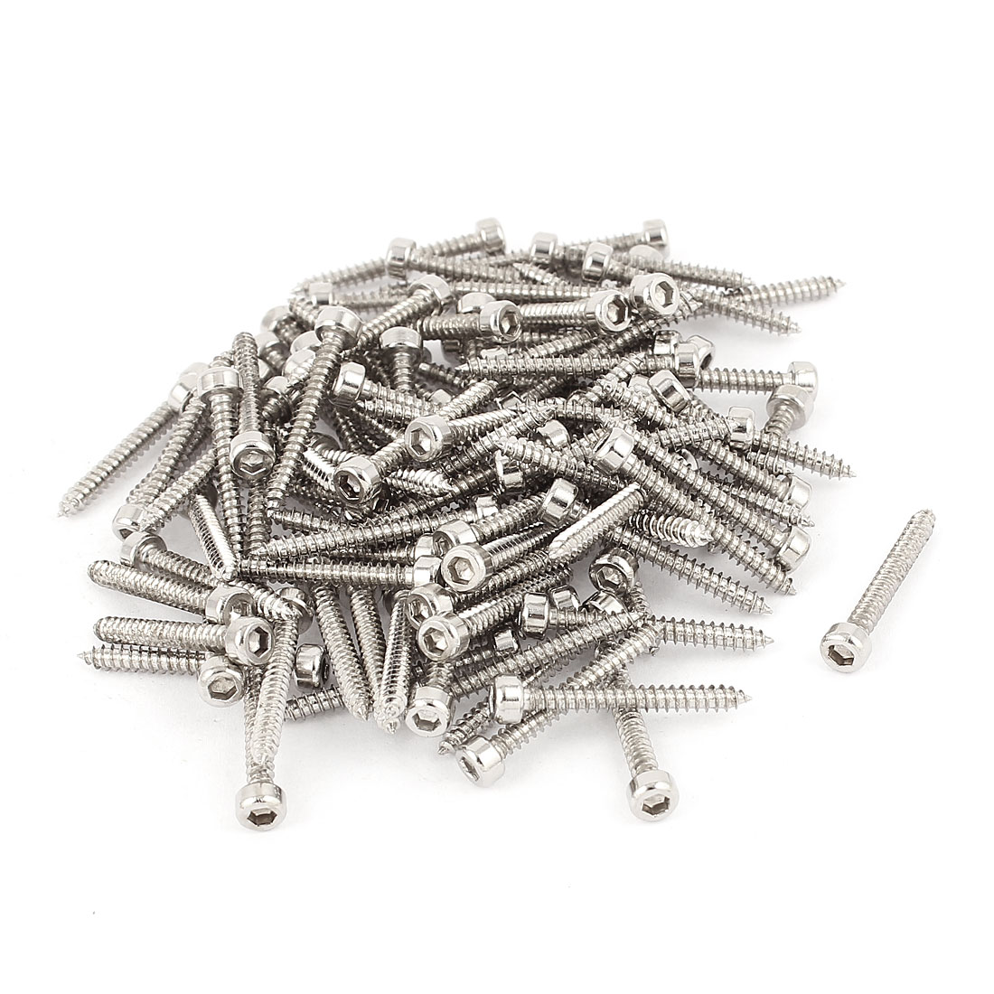 3mm x 25mm Threaded 1mm Pitch Hex Head Self Tapping Screws Silver Tone 100 Pcs