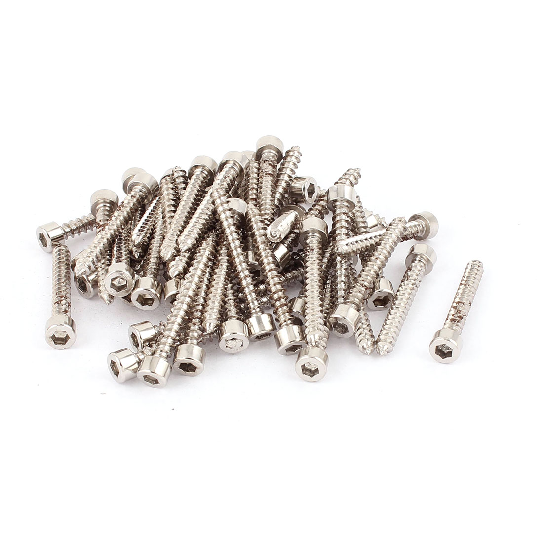 5mm x 40mm Threaded 2.0mm Pitch Nickel Plated Hex Head Self Tapping Screws 50pcs