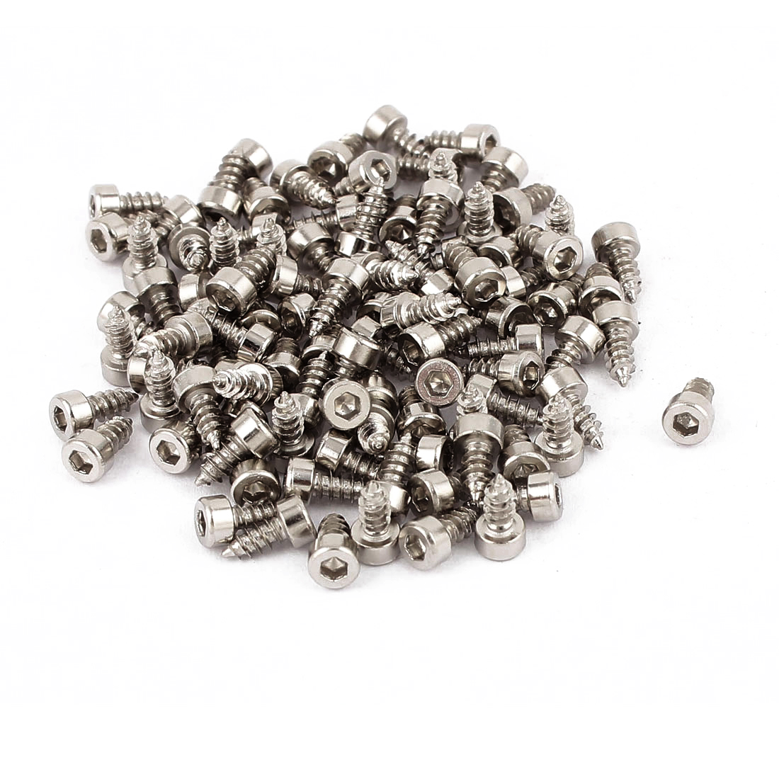 2.6mm x 6mm Full Thread Nickel Plated Hex Head Self Tapping Screws 100 Pcs