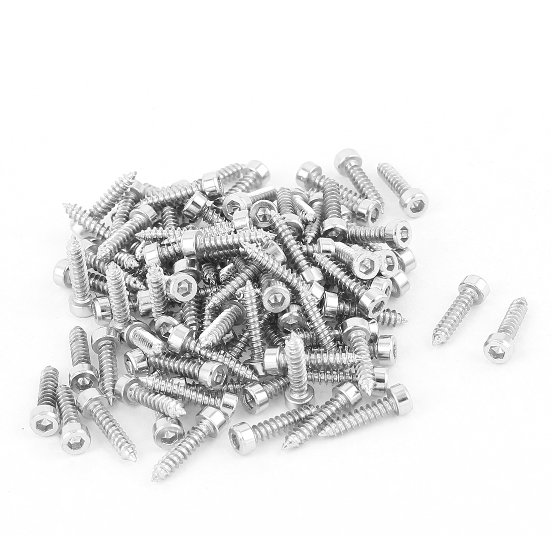 2.6mm x 12mm Nickel Plated Hex Head Self Tapping Screws Silver Tone 100 Pcs