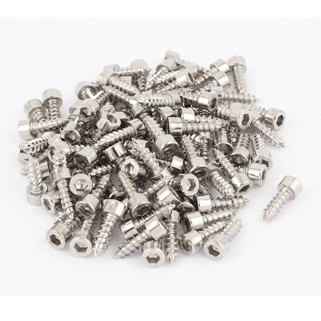 5mm x 16mm Threaded Nickel Plated Hex Head Self Tapping Screws 100pcs