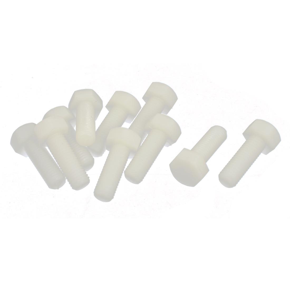 M12 x 35mm Full Thread 1.75mm Pitch Nylon Metric Hex Head Cap Screw Bolt 10 Pcs