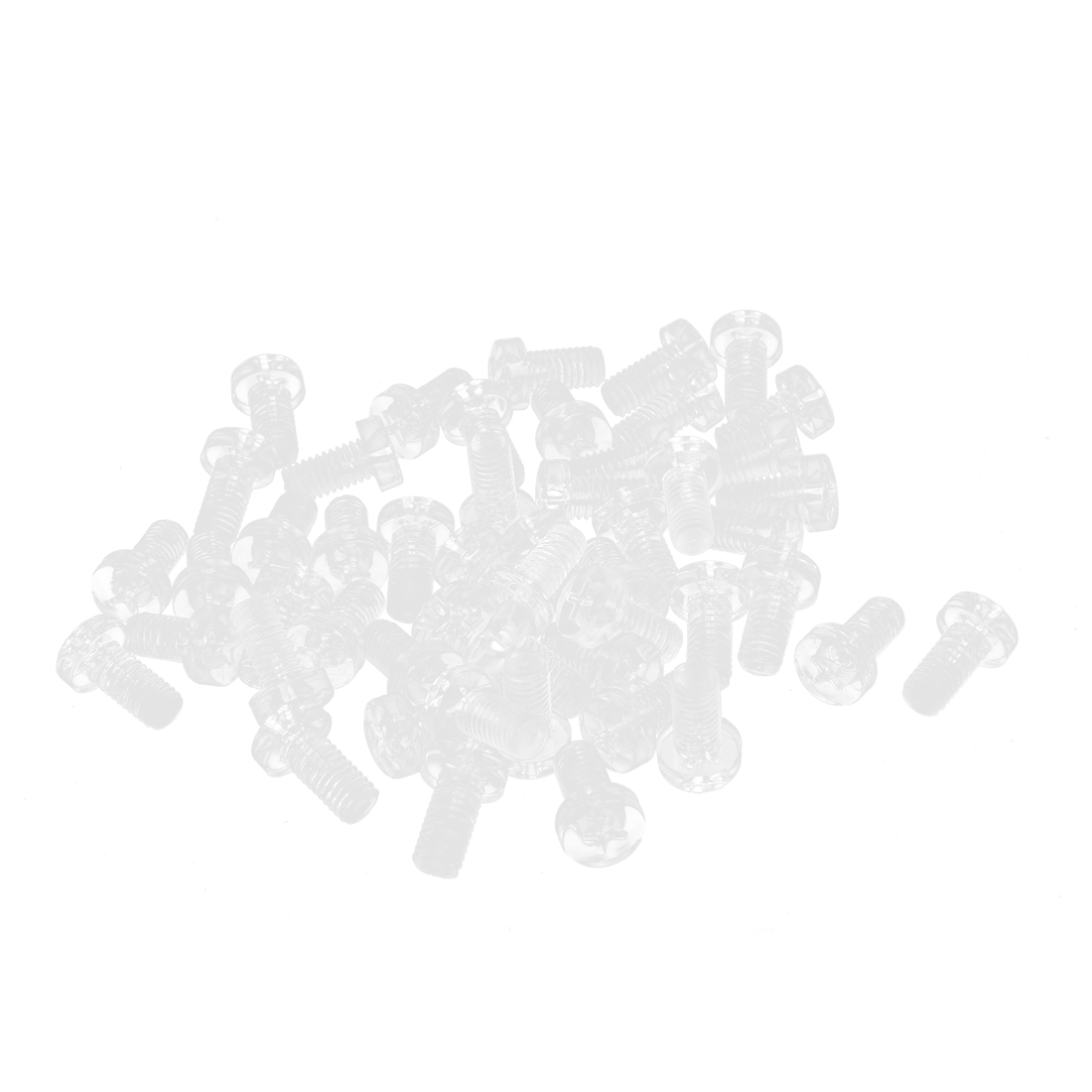 M6 x 12mm 1mm Pitch Phillips Pan Head Machine Screw Bolt Clear 50 Pcs